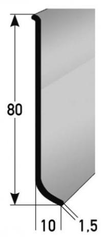 Aluminium-Sockelleiste 80 x 10 mm