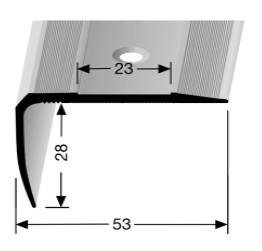 Treppenkantenprofil (712) für selbstklebende Gleitschutzeinlagen, versenkt gebohrt