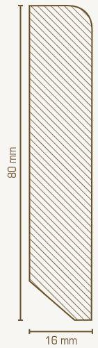 Massivholz-Sockelleiste 16 x 80 mm