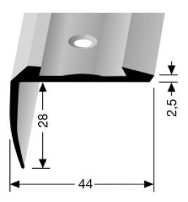 Treppenkantenprofil (705) für PVC-Gleitschutzeinlagen, versenkt gebohrt