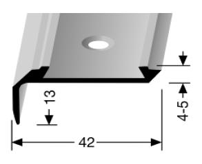 Treppenkantenprofil (701) für PVC-Gleitschutzeinlagen, versenkt gebohrt