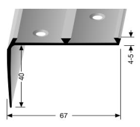 Treppenkantenprofil (704) für PVC-Gleitschutzeinlagen, versenkt gebohrt