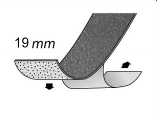 Gleitschutzeinlage selbstklebend, mit Körnung, 19 mm