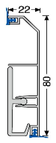 Aluminium-Sockelleiste (934D) mit Dichtlippe, 80x22 mm