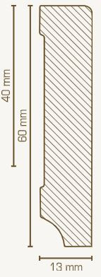 Massivholz-Sockelleiste Kiefer 13 mm Stark, rechteckig