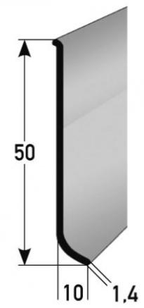 Aluminium-Sockelleiste 50 x 10 mm