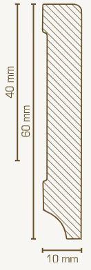 Massivholz-Sockelleiste Kiefer 10 mm Stark, rechteckig