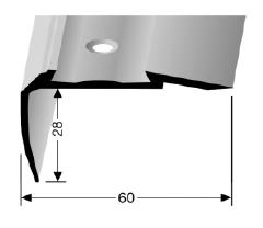 Treppenkantenprofil (706A) für PVC-Gleitschutzeinlagen, versenkt gebohrt