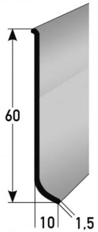Aluminium-Sockelleiste 60 x 10 mm