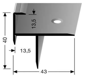 Treppenkantenprofil (207) versenkt gebohrt