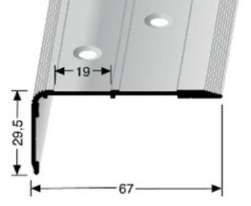 Treppenkantenprofil (715) für selbstklebende Gleitschutzeinlagen, versenkt gebohrt