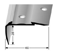 Treppenkantenprofil (706C) für PVC-Gleitschutzeinlagen, versenkt gebohrt