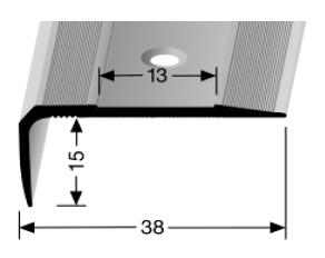 Treppenkantenprofil (711) für selbstklebende Gleitschutzeinlagen, versenkt gebohrt