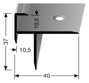 Treppenkantenprofil (208) versenkt gebohrt