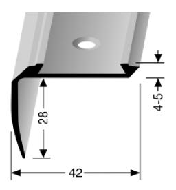 Treppenkantenprofil (702) für PVC-Gleitschutzeinlagen, versenkt gebohrt