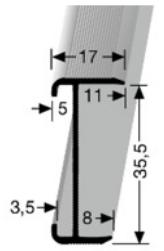 Treppenkantenprofil (844WS) Wasserstrahl geschnitten, versenkt gebohrt
