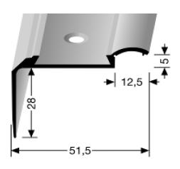 Treppenkantenprofil (703) für PVC-Gleitschutzeinlagen, versenkt gebohrt