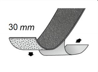 Gleitschutzeinlage selbstklebend, mit Körnung, 30 mm